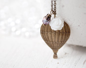 Hot Air Balloon necklace - Romantic gift jewelry - Gift for traveler - Romantic gift for her - Travel  jewelry - Up up and away (N031)