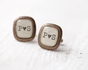 Personalized wedding cufflinks - Initials cufflinks - Groom Cufflinks - Custom cufflinks - Rustic groomsmen gift - Rustic wedding (C020)