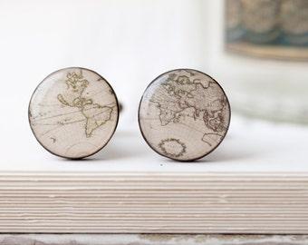 World map cufflinks - Vintage map cufflinks - World traveler gift - Gift for traveler - Wedding cuff links for groom, groomsmen (C022)