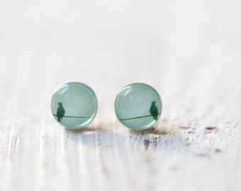 Bird stud earrings - Mint stud earrings - Tiny stud earrings - Mint small studs - Mint earrings, Bird on wire jewelry - Spring jewelry(E091)