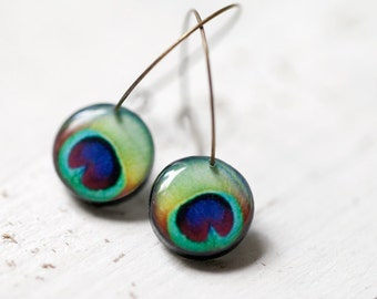 Peacock earrings - Peacock wedding - Green earings - Feather earings (E001)