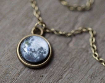 Full Moon necklace small, Full Moon jewelry women, Space jewelry Necklace for women, Gift for women full moon charm necklace, Space necklace