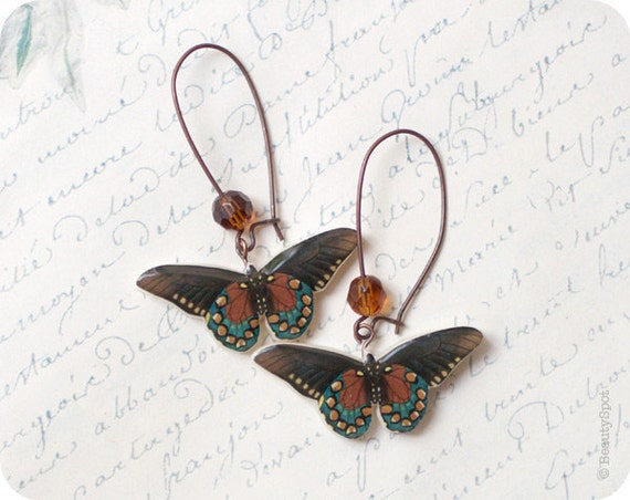 Tender Butterflies earrings in brown and teal colors - christmasinjuly CIJ (E057)