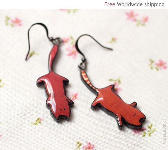 Red Cat earrings - Cat lover gifts - Animal jewelry  (E058)