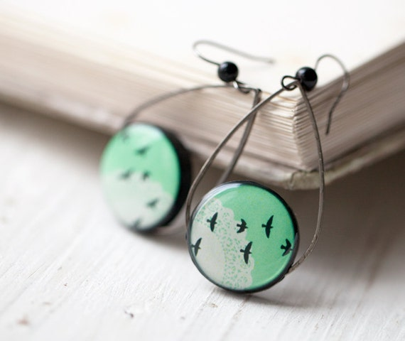Mint earrings - Bird earrings - Mint green earrings - Tear Drop earrings  (E054)