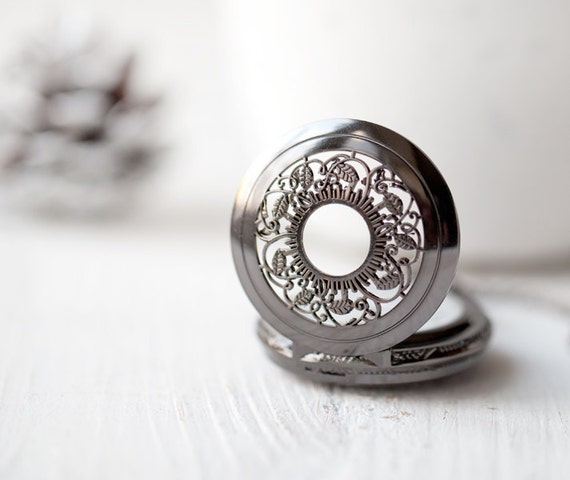 Black Pocket Watch necklace - christmasinjuly CIJ (PW008)