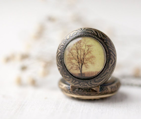 Autumn Tree pocket watch necklace - Photo jewelry - Autumn jewelry  (PW019)