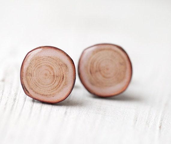 Wood slice cufflinks - Wood cufflinks - Rustic cufflinks - Brown cufflinks - Rustic Wedding accessories - Groom cufflinks (C002)