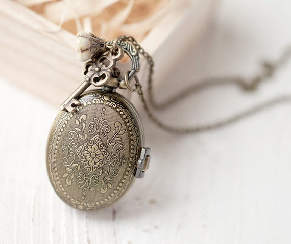 Oval pocket watch necklace - Jewelry for her - christmasinjuly CIJ (PW024)