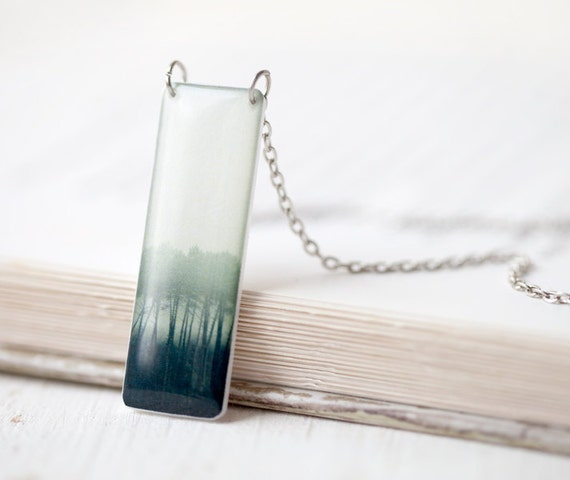 Ancient Forest green necklace - Forest green pendant - Tree necklace - Green ombre jewelry - woodland jewelry (N079)