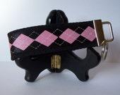 Pink n' Black Argyle Key Fob