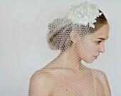 Bridal veil, Birdcage  wedding veil , laced veil,bridal mini hat veil , Hair Accessory, Wedding Head Piece -Style 223- Made to Order