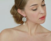 Crystal and Pearl Wedding Bridal Earrings,  Bridal Wedding vintage  Chandelier Earrings, Vintage Style Jewelry - Style 477