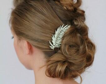 Crystal Leaf Hair Comb, Rhinestone Leaves Bridal Hairpiece , Encrusted Crystal Bridal Hair Comb , Sparkle Comb, Wedding Hair Accessories