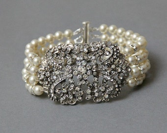 Bridal Pearl Bracelet Wedding Statement Jewelry Vintage Style  Multistrand Brooch  Bracelet Pearl Cuff Bracelet READY TO SHIP