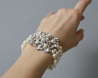 Bridal Bracelet , Wedding Pearl Bracelet , Multistrand Bridal Bracelet , Ivory Swarovski Crystal Pearl Bracelet , Bridal Jewelry