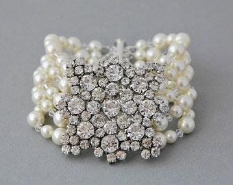 Bridal Bracelet, Cuff Pearl Bracelet, Vintage Crystals and Pearls Bracelet, Wide Bracelet , Swarovski Bridal Jewelry