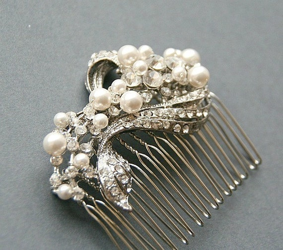 Bridal Hair Comb , Wedding Headpiece , Bridal Hair Accessories, Ivory Pearl Hair  Comb , Vintage Wedding Hair Comb, Bridal Hair Accessories