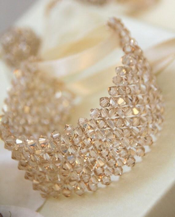 Swarovski  Crystals in  Golden Shadow bracelet  with satin tape