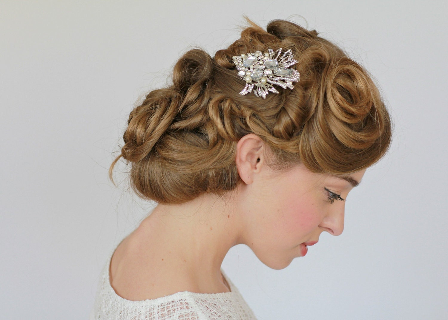 handmade bridal hair accessories uk: simona flower hair clip a