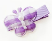 DOLLAR CLIP... Purple gingham with silver sparkles butterfly / no slip clip (dacgwssb-pink)