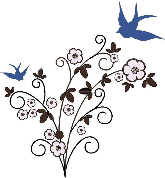 Blue birds of happiness vinyl wall decal