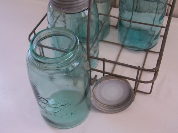 Aqua Blue Ball Canning Jars in Milk Bottle Tote