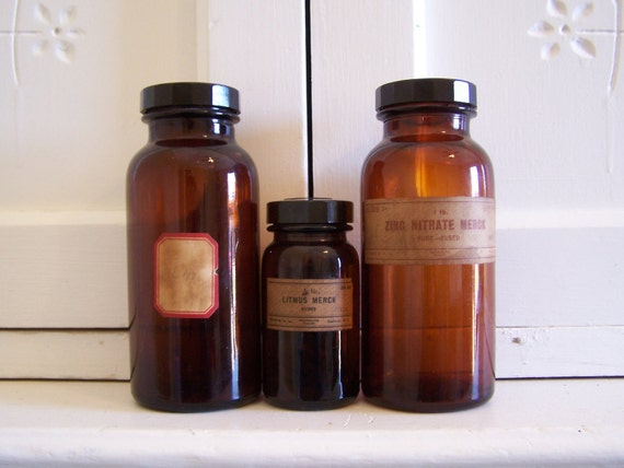 Vintage Amber Apothecary Bottles