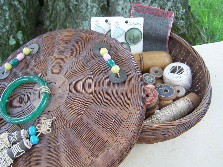 Antique Sewing Basket Chock Full Of Vintage By Hogsandhominy