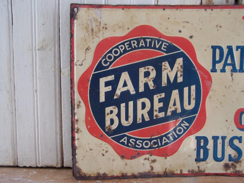 vintage metal farm bureau sign. Black Bedroom Furniture Sets. Home Design Ideas