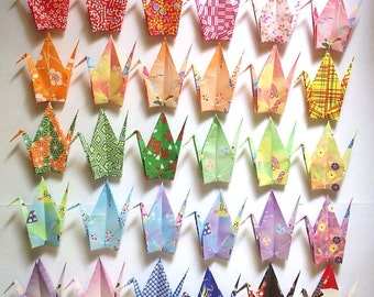 30 Large Origami Cranes Origami Paper Cranes Paper Crane - Made of 15cm 6 inches Japanese Washi Chiyogami Paper - 30 Patterns A