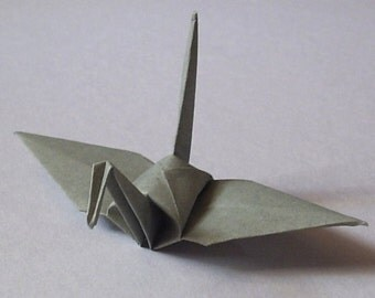 100 Small Origami Cranes Origami Paper Cranes - Made of 7.5cm 3 inches Japanese Paper - Grey