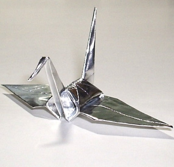 100 Small Origami Cranes Origami Paper Cranes Paper Crane - Made of 7.5cm 3 inches Japanese Foil Paper - Silver