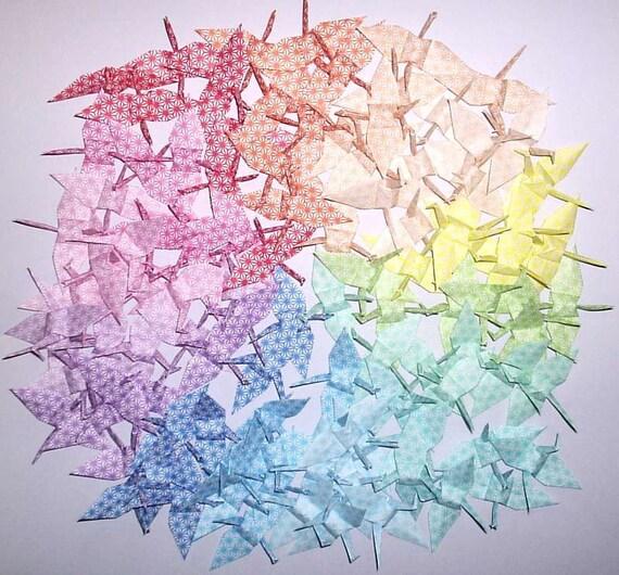 105 Small Origami Cranes Origami Paper Cranes Paper Crane - Made of 7cm Japanese Paper - 15 Colors