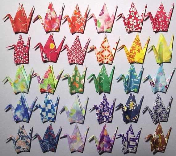 30 Small Origami Cranes - Made of 7.5cm 3 inches Japanese Washi Chiyogami Origami Paper - 30 Patterns B