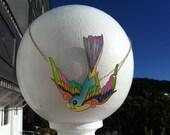 Sweet Swallow, Statement Hand Drawn Large Bird Illustration Pendant, Pastels (Shrink plastic/OOAK)