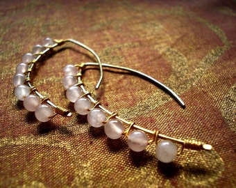 Gold filled  Rose Quartz Wrapped Hanging Earrings
