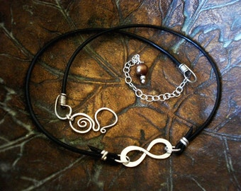 Infinity to Eternity Sterling Silver and Leather Necklace - Artisan Clasp