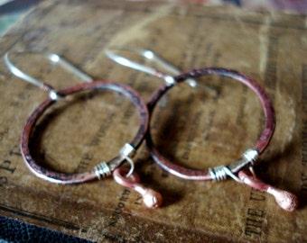 Circle Copper Drops Earrings