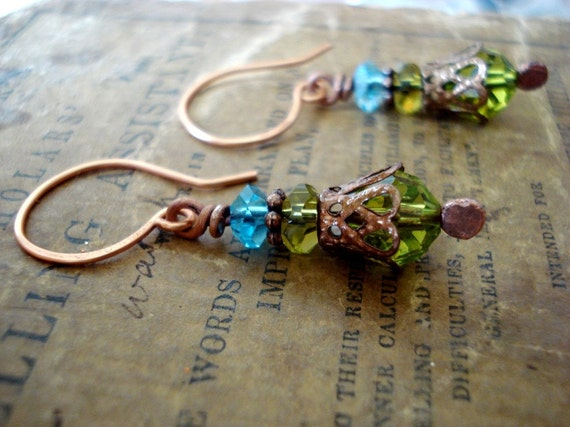 This Pretty Planet - Copper Blue Globe and Peridot Green Copper Earrings