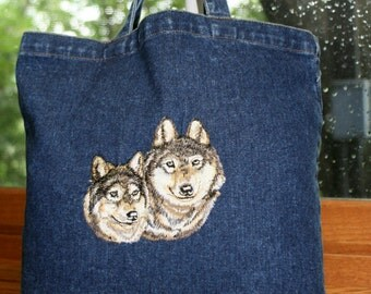 WOLVES DENIM EMBROIDERED Tote