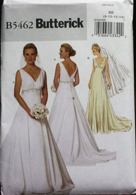 B5462 butterick wedding dress sewing pattern new uncut size for Butterick wedding dress patterns