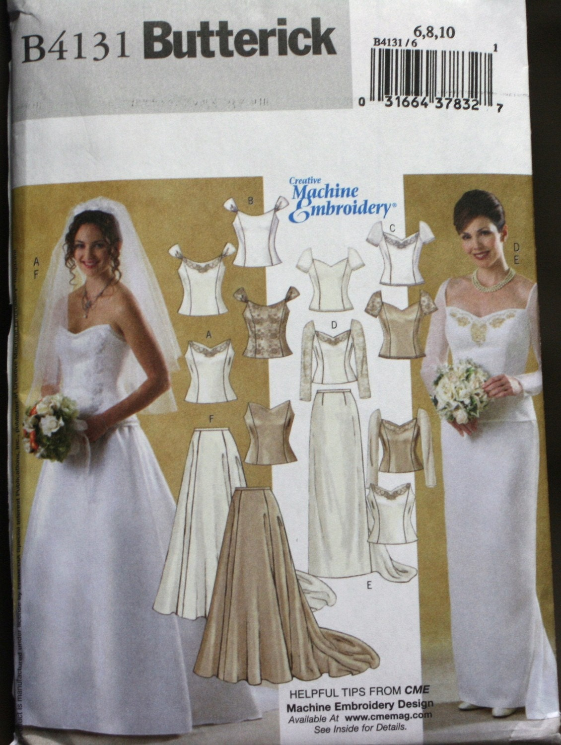 B4131 butterick wedding dress sewing pattern new uncut for Butterick wedding dress patterns