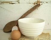 Vintage White Mixing Bowl Ribbed USA Pottery