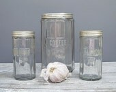 antique glass jars trio of mission style hoosier coffee and spice jars