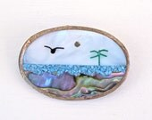 vintage pendant brooch- mexican alpaca silver - turquoise - abalone - mother of pearl