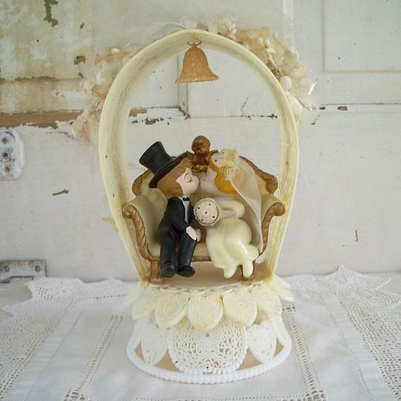 Wedding Cake Toppers Vintage: Vintage Wilton Wedding Cake Topper Kissing Couple Cherub