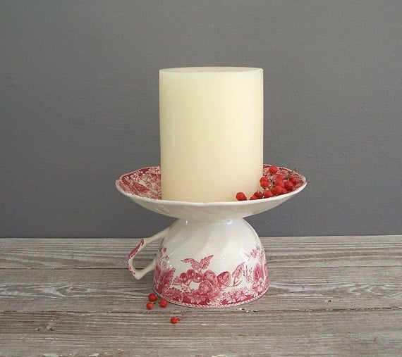 tea cup candle holder cup cake stand upcycled johnson brothers strawberry fair