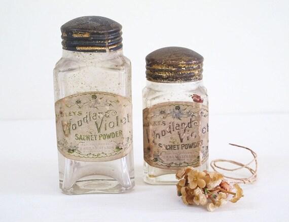 2 1907 glass bottles - sachet powder D.R. Bradley and Son new york - woodland violet