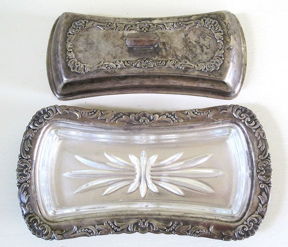 vintage silver plate butter dish with lid and embossed glass insert